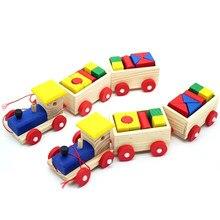 47e8d1c7a7 Frühen Kindheit Spielzeug Pädagogisches Spielzeug Drei Blöcke Bausteine  Kleine Zug Ziehen Holz Spielzeug Für Kinder Kinder Weihn.