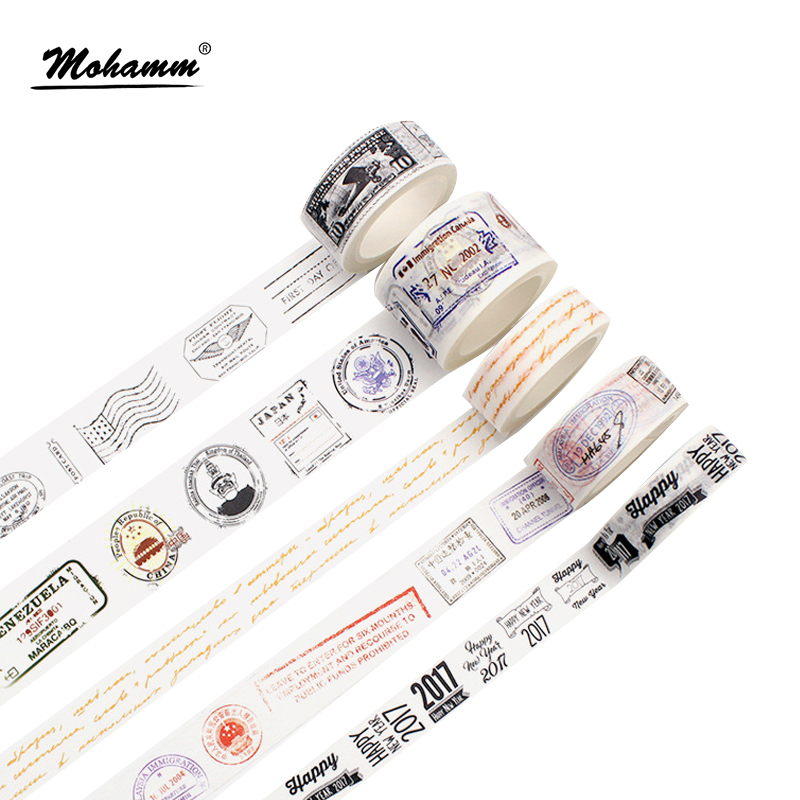 Creative Retro Seal Postmark Decorative Washi Tape DIY Scrapbooking Masking Craft Tape School Office Supply Escolar Papelaria 1 5cm 7m flowers fox steamer mushroom decorative washi tape scotch diy scrapbooking masking craft tape school office supply