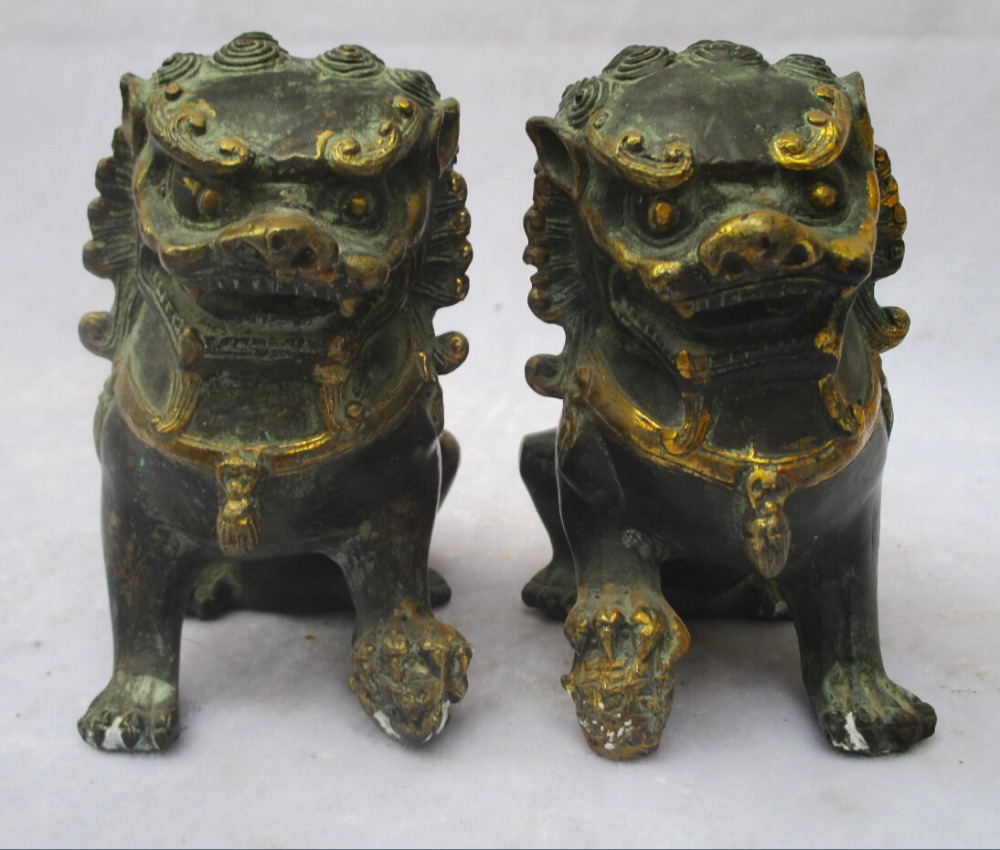 1 Pair of Chinese old bronze carved fu foo dog Sculpture /Antique dog statue