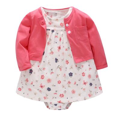 Flower spring baby girl clothes bodysuit +jackets baby clothes Roupa infant jumpsuits cotton baby clothing for  0-24M dresses