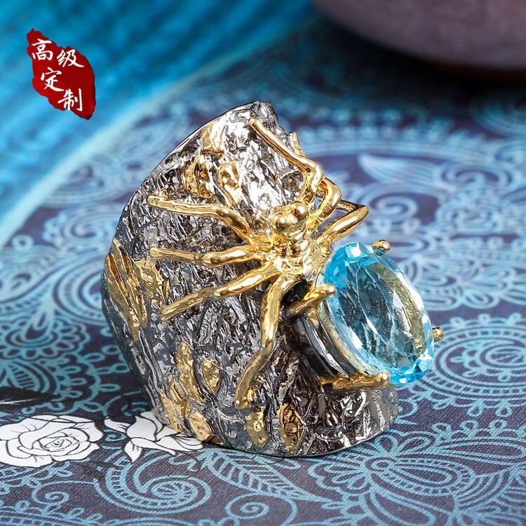 925 anel de prata aranha ordem Pérola enfeites de recursos de personalização do produto projeto original o projeto feito sob medida com a mão - 3