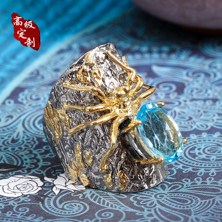 925 silver spider ring order Pearl ornaments product customization features original design custom made design by hand - 3