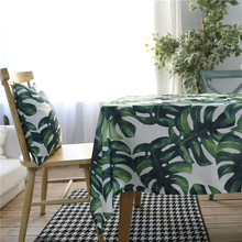 Tropical Rainforest Plant Pattern Kitchen Table Linens Rectangular Tablecloths Nappe Cloth Waterproof Oilcloth Cotton Mat