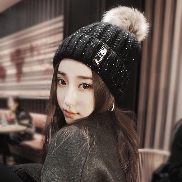 b73b84b50e5 12 styles Dual Fur Striped thick knit wool cap winter hats women beanie  knitted Warm caps feminino beanie Fur Ball Top ladies