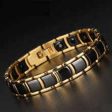 Personality Simple Mens Titanium Steel Bracelet High-end Ceramic Germanium Magnet Health Jewelry