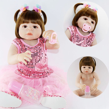 23inch Full Silicone Reborn Girl Baby Doll Toys handmade  Newborn Princess Toddler Babies Dolls Bathe Toy Play House Toy Doll