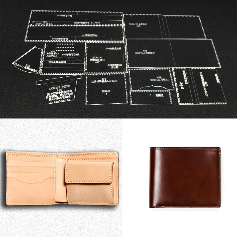 Handmamde Wallet Acrylic Template Leather Pattern DIY Hobby Leathercraft Sewing Pattern Stencils 110X95X20mm