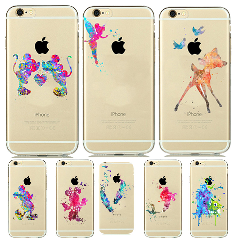 Designer Colorful Mickey Minnie Mouse Lover Couples Transparent Clear Soft Silicone Case for funda iPhone 7 5 5s 6 6S Vanlentine