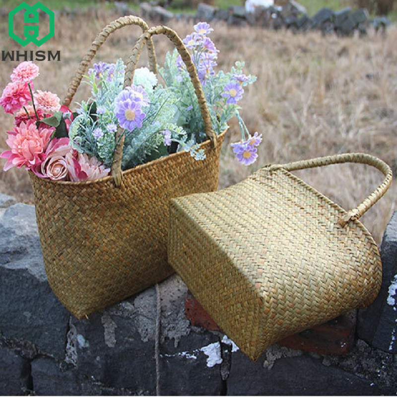 WHISM Wickwork Laundry Basket Rattan Organizer Seagrass Handbag Handmade Straw Garden Flower Pot Woven Storage Bag with Handle