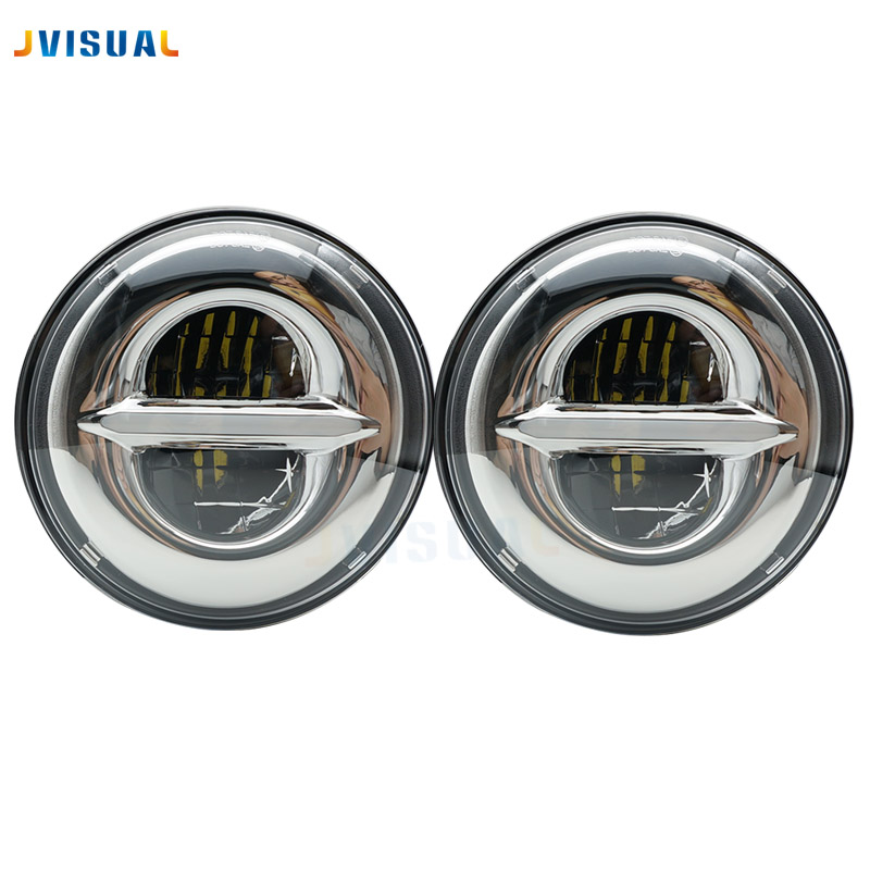 For lada niva 4x4 headlights replacement 2pcs 7 LED H4 plug play white halo head lights