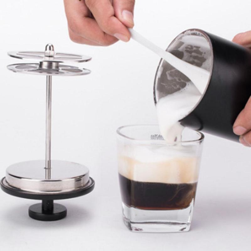 200ML Cylinder Manual Milk Foamer Dual Layer Mesh Stainless Steel Milk Foam Maker Milk Frother Coffee Frothing Pitcher eupa stainless steel 500ml espresso coffee latte art cylinder pitcher barista craft latte milk frothing jug household