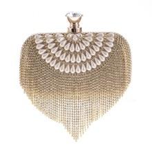 Фотография Pochette Tassel Rhinestones Women Evening Bags Chain Shoulder Small Day Cluth Purse Beaded Crystal Evening Bags