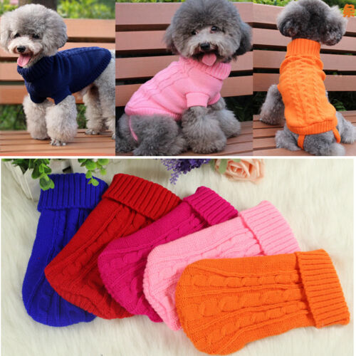 New Small Pet Dog Kitten Knitted Classic Turtleneck Jumper Clothes Puppy Cat Sweater Winter Jacket Knitwear Costume New Apparel in Dog Sweaters from Home Garden