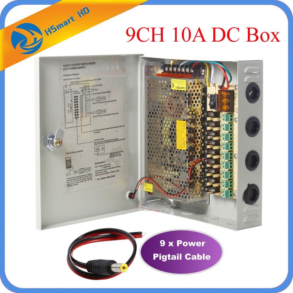 9CH DC12V 10A Power Supply Distribution Box CCTV Security Surveillance Camera For LED Strip String Light
