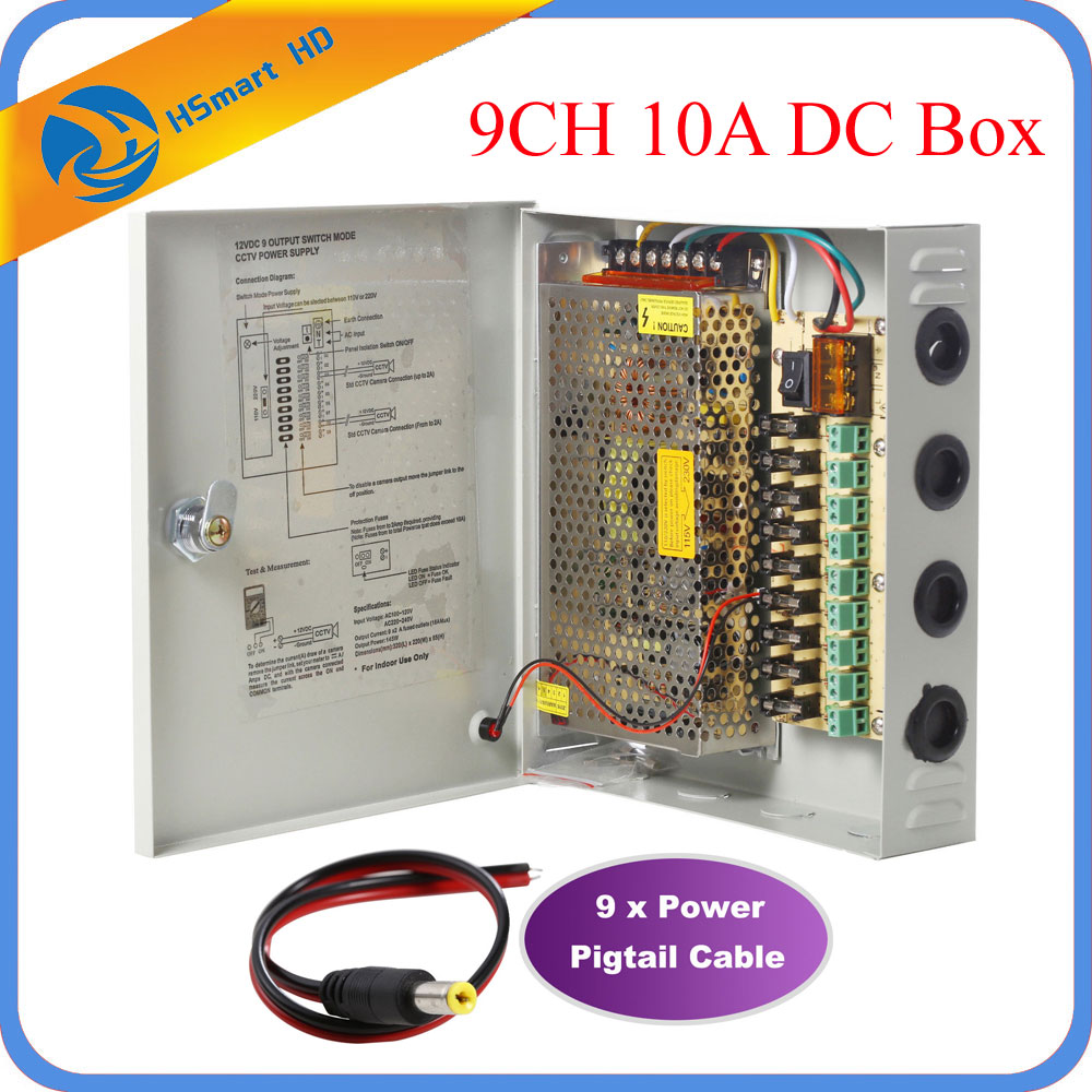 9CH DC12V 10A Power Supply Distribution Box CCTV Security Surveillance Camera For LED Strip String Light 9ch dc12v 10a power supply distribution box cctv security 18 Channel CCTV Power Supply at soozxer.org