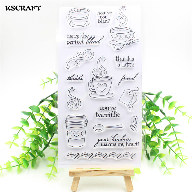 KSCRAFT Coffee Time Transparent Clear Silicone Stamp/Seal for DIY scrapbooking/photo album Decorative clear stamp sheets lovely animals and ballon design transparent clear silicone stamp for diy scrapbooking photo album clear stamp cl 278