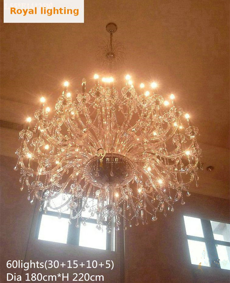 Large Clear Crystal Chandelier lamp for Church hotel living room big - Indoor Lighting - Photo 6