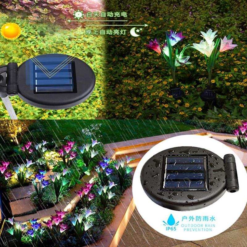 Solar Lights For Garden Decoration LED Solar Lamp Colorful Lily Flower Christmas Outdoor Lighting Waterproof Solar Light (5)