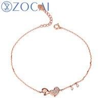 ZOCAI 2014 New Arrival Heart Shape 0 11 Ct Natural Genuine Diamond 18K Rose Gold Bracelet