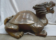 zhaomeirui32++12 Inch huge China brass carved finely longevity Dragon Turtle Sculpture statue