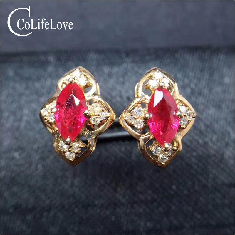 Vintage silver ruby stud earring for wedding natural marquise cut ruby earring rose gold color silver ruby jewelry gift for girl путь ruby