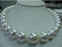NEW PERFECT GORGEOUS AAA 12 13MM SOUTH SEA white PEARL NECKLACE 1814KGP r a(5.18)