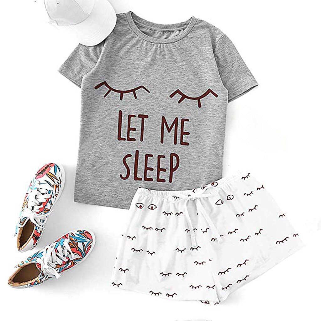 Women Pajama Suits Women's Casual Cat Shorts Short Sleeve Ruffled T-Shirt Sleepwear Nightwear Set Woman Clothes Pajama Set#G