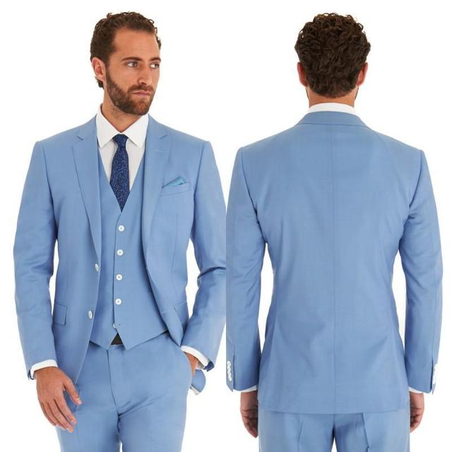Latest Coat Pant Designs Sky Blue Wedding Suits For Men Slim Fit Formal Tailored Groom Tuxedo