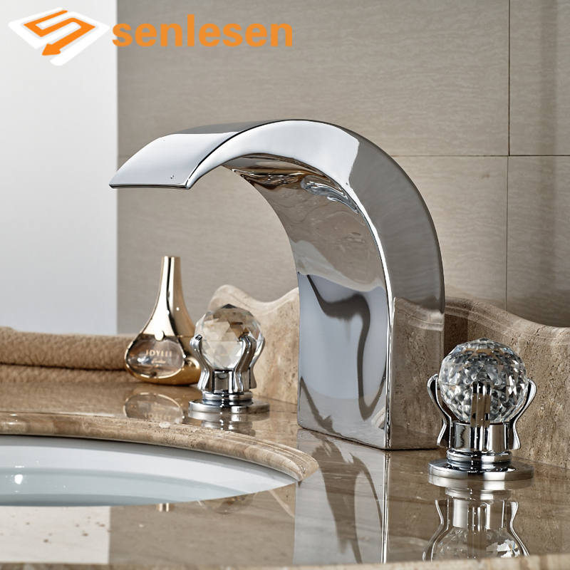 Wholesale And Retail Chrome Bathroom Basin Faucet Waterfall Deck Mounted Brass Tub Faucet Crystal Glass Balls Handles Mixer Tap free shipping wholesale and retail golden big c shape widespread deck mounted waterfall bathroom basin sink faucet