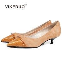 VIKEDUO Для женщин летние модные туфли лодочки 2018 на низком каблуке Острый носок натуральная кожа корабль женские свадебные Офисные туфли Sapato
