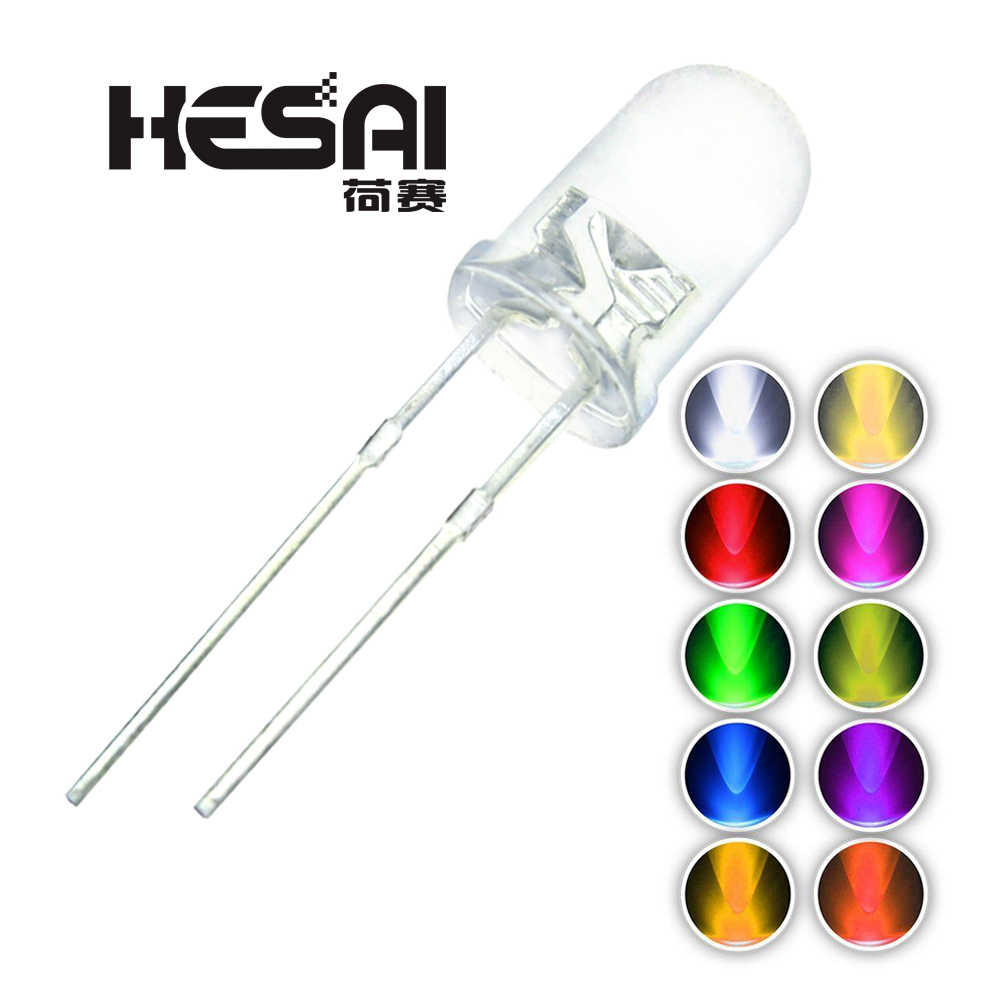 100pcs/lot F5 10 Colors 5MM Round Green/Yellow/Blue/White/Red/Warm White/Orange/Purple/Pink/Yellow Green LED Light Diode Kit