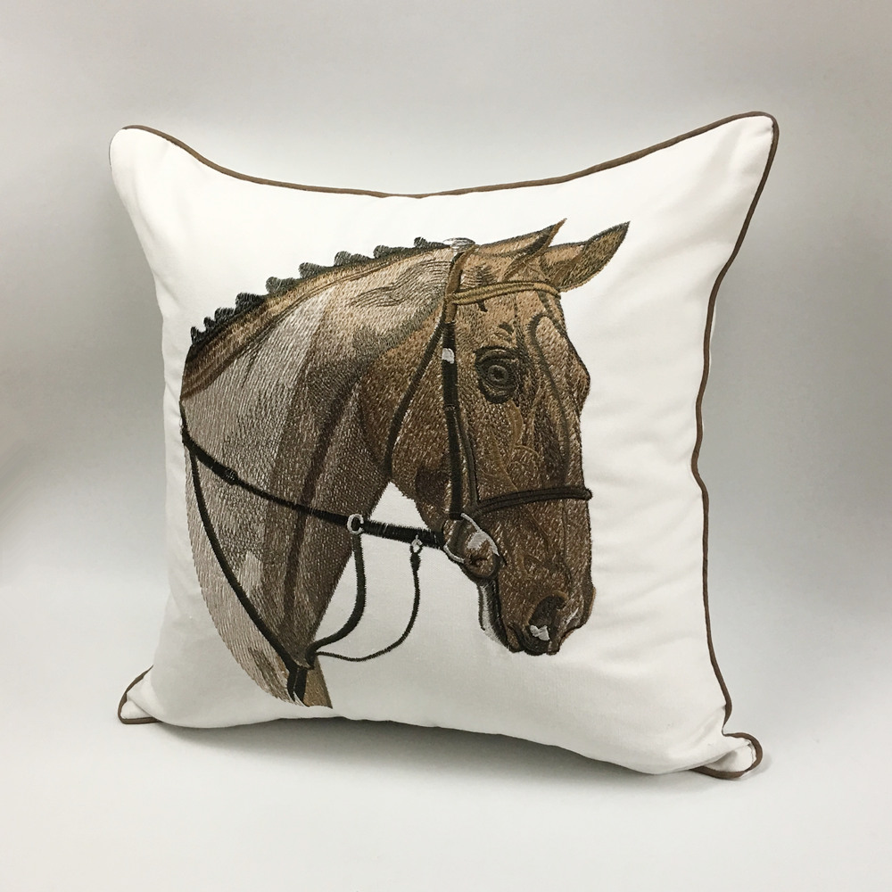 High Quality Sofa Pillows Us 8 99 High Quality Embroidery Horse Designer Pillow Cover Sofa Cushion Cover Canvas Home Bed Decorative Case 45 X 45cm Sell By Piece In Cushion