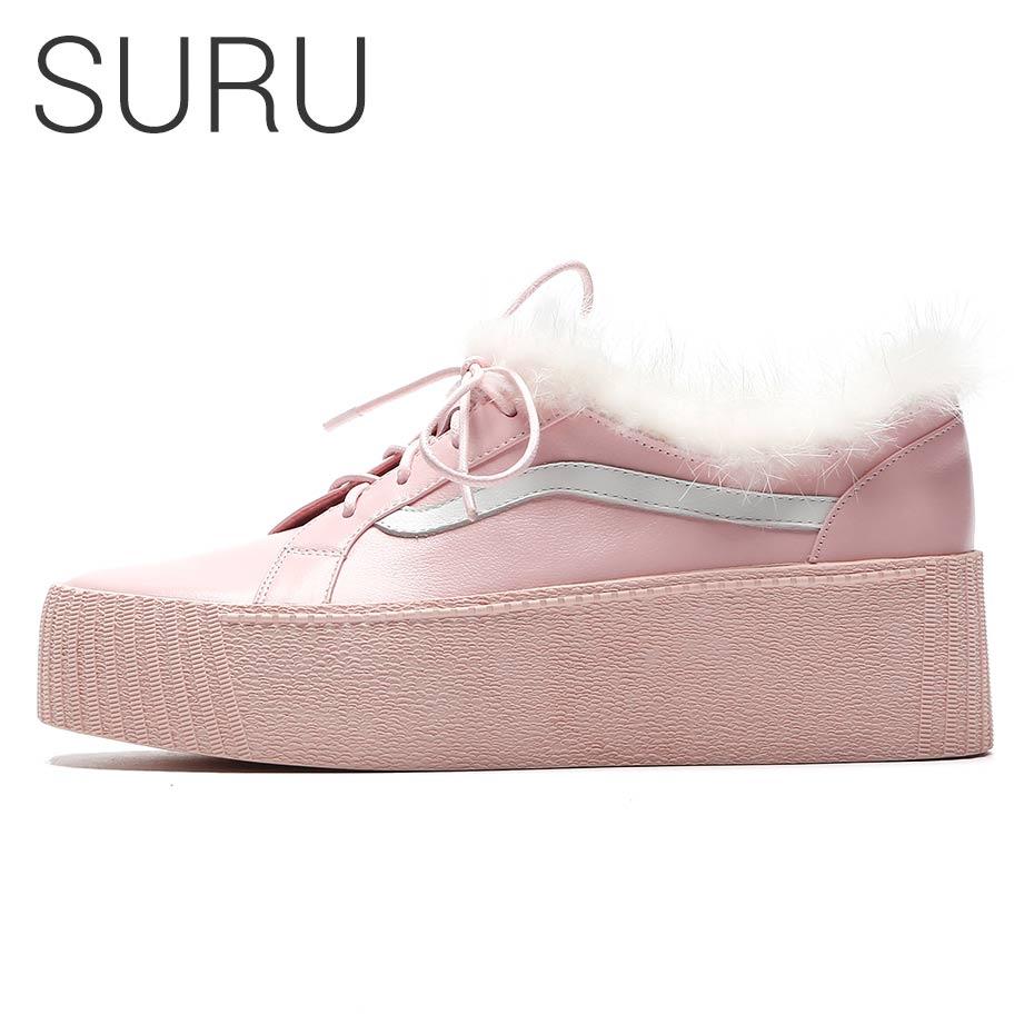 De Fourrure Détail Plat Véritable Cuir Rose pink forme Plate Femmes Suru D'hiver Chaussures En Black q0Tw18