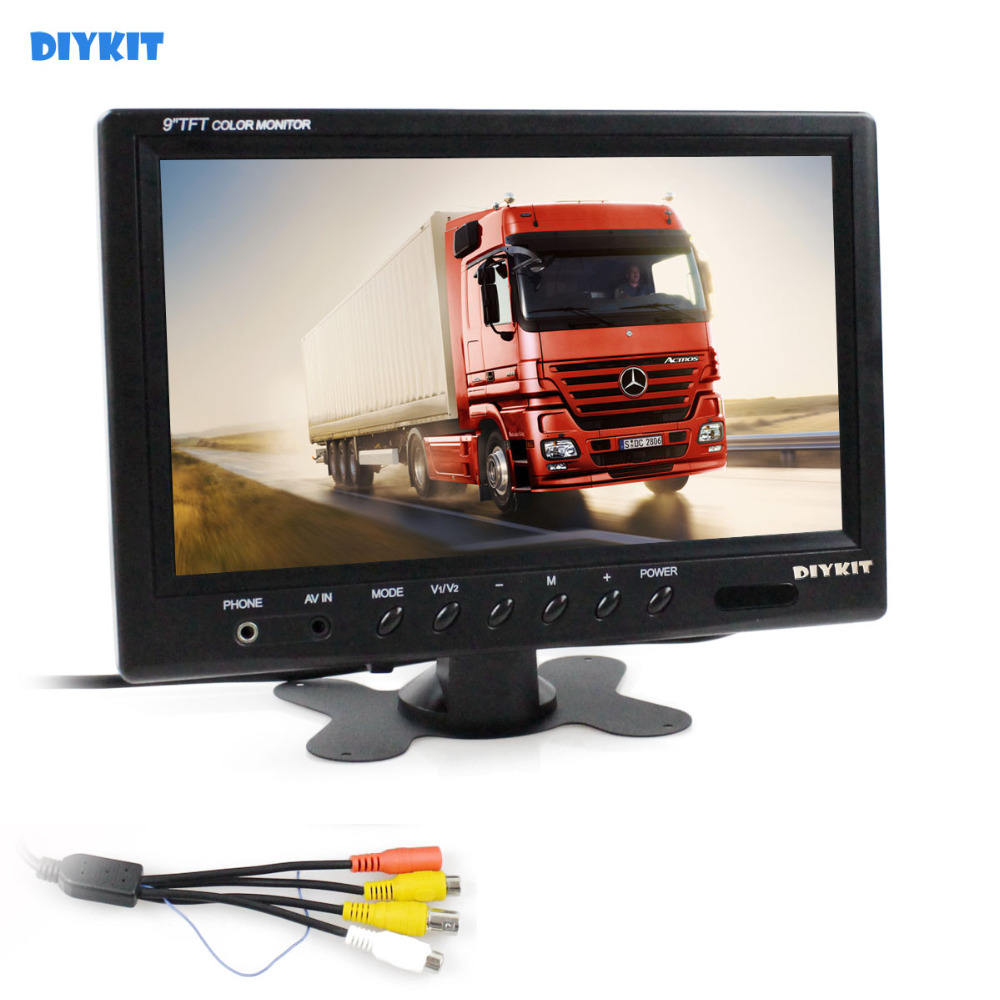 DIYKIT 9 inch TFT LCD Car Monitor Display Car Reverse Rear View Monitor Screen with BNC / AV Input Remote Control DVD VCR 9 inch color tft lcd car monitor display reverse priority with 2 video input backup reverse camera free shipping usb sd