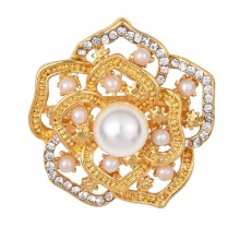 Rhinestone Crystal Hollow Out Gold Color Brooches Pins Dress Sweater Jewelry Romantic Simulated-pearl Brooch Pin for Woman