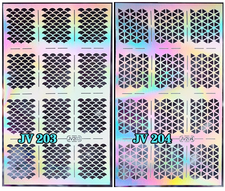 1sheet Silver Hollow Nail Art Template Stencil Stickers Fish Scale Vinyls Image Polish Design Guide Manicure Tools 4