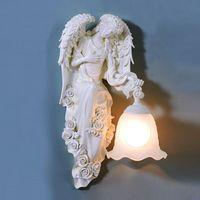 Современный светодиодный настенный светильник белый Ангел ручной Стекло E27 домашний осветительный прибор в виде Феи из полимера бра для Сп