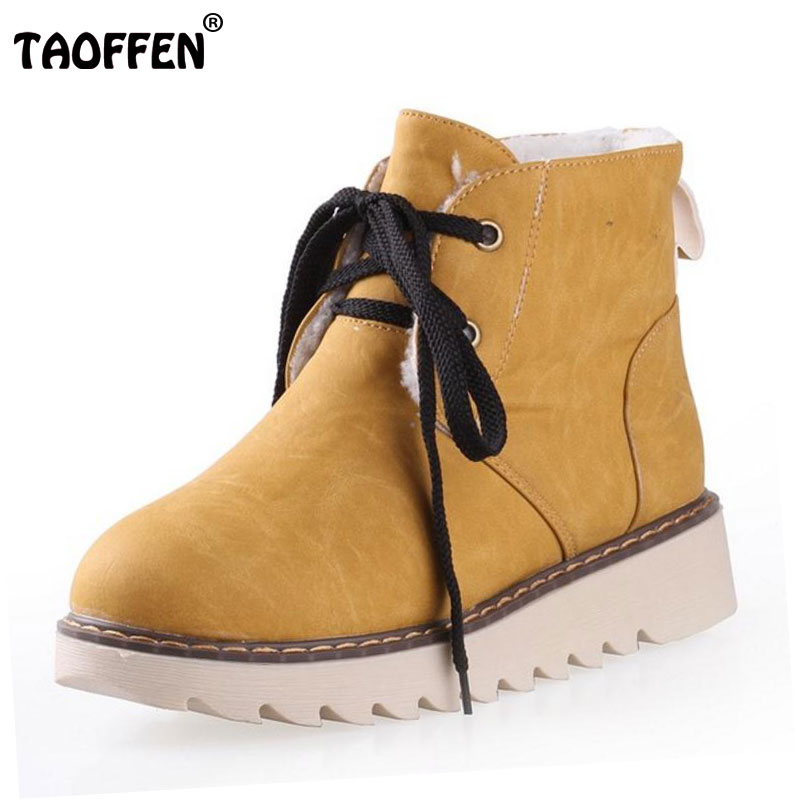 TAOFFEN Women Heel Ankle Boots Lace Up Wedges Boots With Fur Winter Warm Shoes Women Snow Botas Woman Footwear Size 34-43