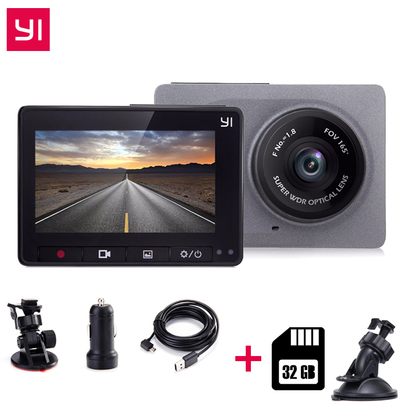 [International Edition] Xiaomi YI Intelligent CarDVR + 32g Carte 2.7 165 Degré 1080 p ADAS Xiaomi YI Intelligent WiFi Action Dash Camera