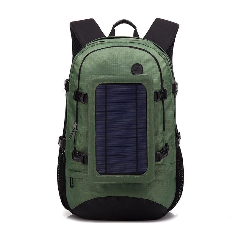 Sacs à dos de charge d'énergie solaire extérieure sac à dos de voyage imperméable vert haute capacité sac à dos de téléphone portable USB pour les fans de sport