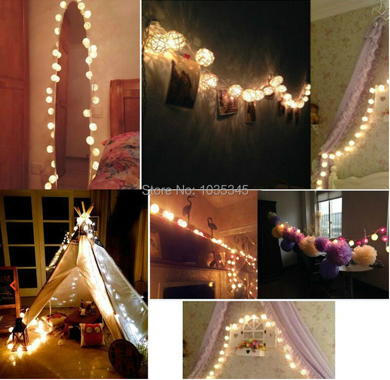 CM Storm Cream White Rattan Ball Fairy Lights Ideal Wedding - How to use fairy lights in bedroom