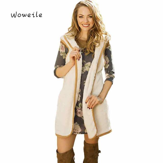 Woweile Moda Mujer Chaleco Sin Mangas de Abrigo de Pelo Largo Chaqueta Envío Gratuito