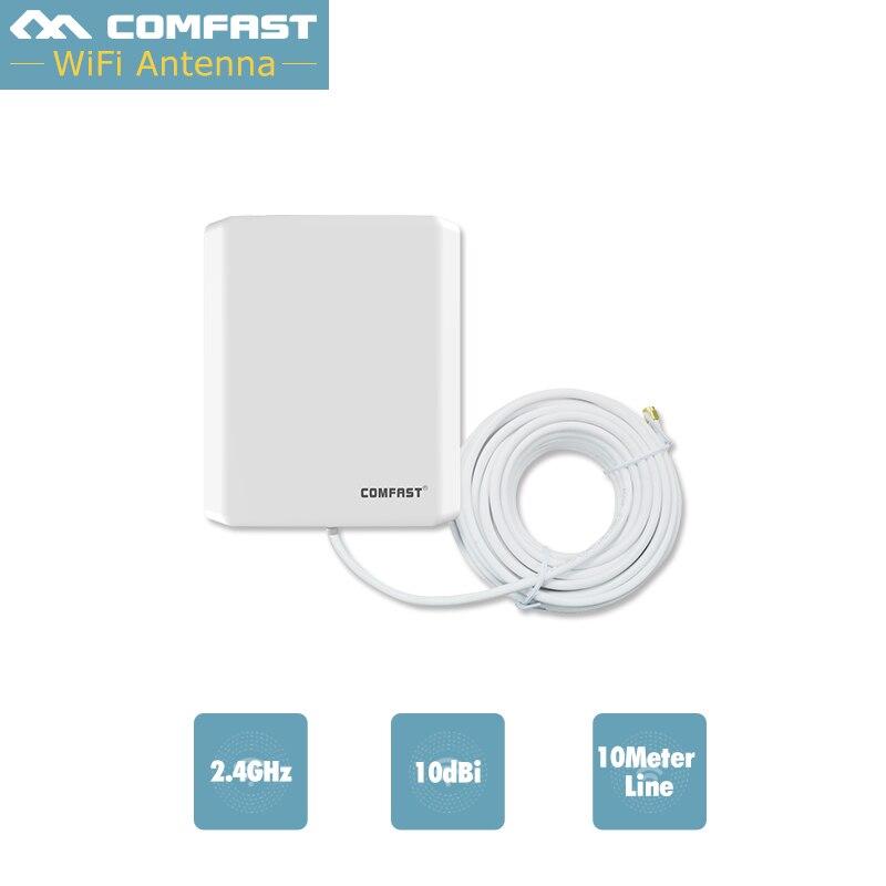 10 m ligne Longue Distance Externe WiFi Antenne 10dbi Comfast 2.4 GHZ Extérieur Wifi Adaptateur Sans Fil Carte Réseau 802.11B/G/N 10 dbi