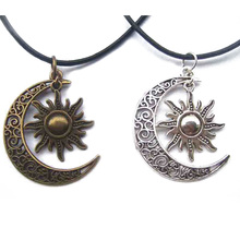 1pcs Antique Bronze Silver Crescent Moon/Sun Charm Pendant Wax Cord End Lobster Clasp Necklace For Boho Hippy 18″+2″Chain