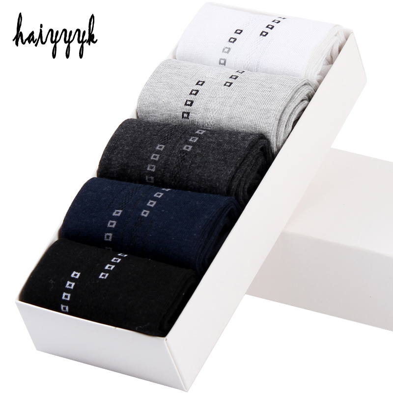 5 Pairs High Quality Mens Cotton Socks Classic Business Brand Socks Men Anti-Bacterial Comfortable Dress Socks Size 39-44