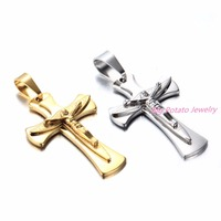 Granny Chic Mens Crucifix Cross Trendy 316L Stainless Steel Pendant Jesus Link Chain Necklace Men Jewelry Cross