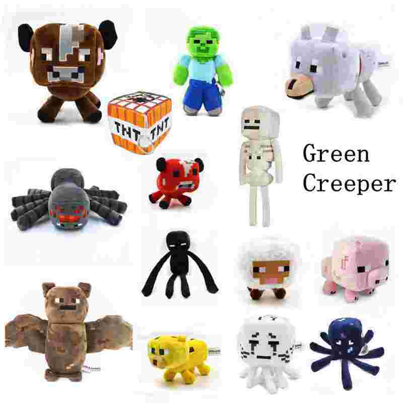 Minecrafting Toys  Creeper Plush  Skeleton Wolf Steve Cow Ghost Spider Bat Baby Toys Christmas Gifts