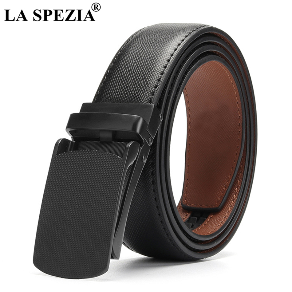 New Arrival LA SPEZIA Real Leather Belt Men Automatic Black Belts Male Genuine Leather Cowhide Brand Business Accessories Belt For Trousers