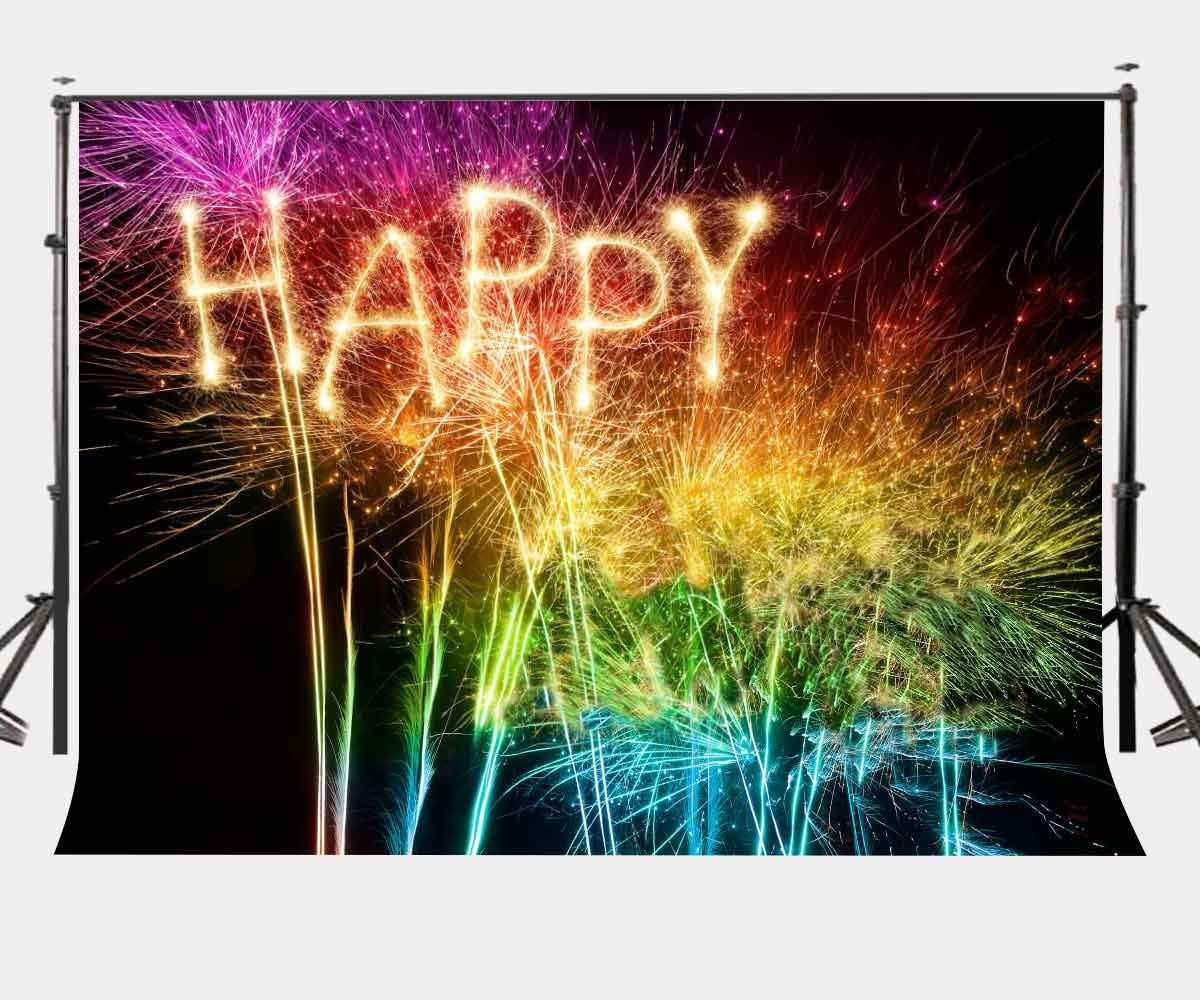 Practical 7x5ft Colorful Fireworks Backdrop Happy Word Pattern Photography Backdrop Party Night View Photo Video Shooting Props Firm In Structure