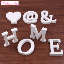 PATIMATE Wedding Decoration 8cm Thick Wood Alphabet Wooden White Letters Table Birthday Party Craft Name Wall Art Home Decor